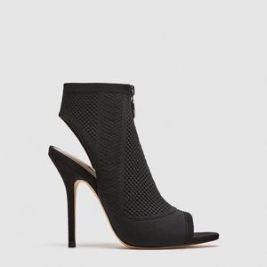 NWT • Zara • Fabric High-Heel Sandals with Zip